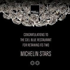 Michelin star restaurant Ciel Blue Michelin Star, Modern Pendant Light, Modern Lighting, Sculptures, Restaurant, Rose, Pink, Diner Restaurant, Restaurants