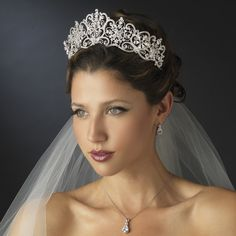 Silver Floral Tiara with CZ Teardrop Necklace and Earrings Set - oh yes!