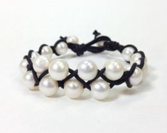 Items similar to Freshwater Pearl and Leather Bracelet - Orrawee C on Etsy