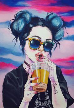grafika girl, art, and wallpaper Art And Illustration, Dope Kunst, Evvi Art, Arte Dope, Girly M, Wow Art, Grunge Girl, Disney Cartoons, Art Inspo