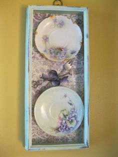 Framed Vintage Plates Shabby Chic Cottage Chic by myplace4tea, $45.00