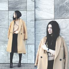 Holynights Claudia - Sheinside High Neck Sweater, Frontrowshop Coat, Little Mistress Shoes - C a m e l | b l a c k