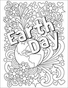 Earth Day Coloring Page. Free download to celebrate the day on April 22. #earthday #doodle