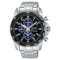 Seiko Men's SNAE63 Stainless Steel Analog with Black Dial Watch