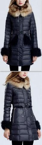 Belted Fur-Trim Hooded Paneled Puffer Down Coat in Blue