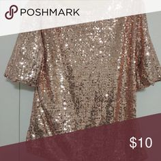 """Sequins shirt front and back. Tight fitting 1x. Lined sequins top perfect for a night out on the town. I am 5'4"""" and for me the shirt is short. I haven't worn it other than trying it on. I bought the shirt online and they said it was a 5xl.. Deffinetly ran small is say its more a 1x.Then again I do prefer tunics I just couldn't say no the the sparkles. Lol Tops Blouses"""