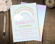 Rainbow Party  Invitation // Pastel Rainbow Birthday // Gold Sparkle Rainbow // Digital // Printed