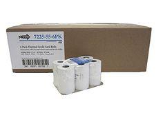 National Checking Company (NCCO) Register Roll 7225-55-6PK - 1 Case with 6 Trays of 10 Rolls - 60 Total Rolls of 2.25 Inches wide x 55 Feet long White Thermal Paper