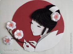 Картина, панно, рисунок Бумагопластика, Квиллинг: японочка Бумага. Фото 1