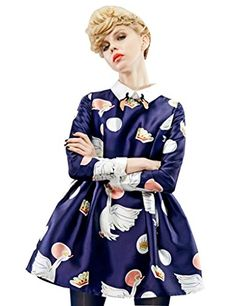 Elf Sack Womens Winter Dress Turn Down Collar Swans Print Waisted Fit and Flare