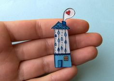 Rain House Brooch or Necklace by La Cravate Du Chien, via Flickr