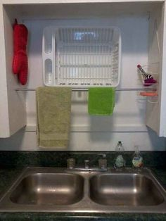 "37 tips/hacks to making washing dishes easier.  Install an above the sink dish drying rack. Or make a DIY one like this.  ¤♡¤ The other picture on this site of the ""installable drying racks"" are easily hidden with cabinet doors!  Thought that was soooo smart!"