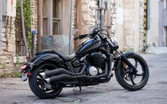 Télécharger fonds d'écran Star de Yamaha Stryker, Noir moto, tuning, matt tuyaux d'échappement, cruiser, Yamaha