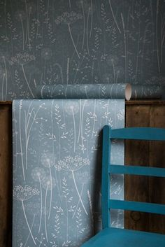 Teal meadow wallpaper by Hannah Nunn