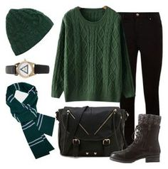 """""""Slytherin - Sweater Weather"""" by waywardfandoms ❤ liked on Polyvore featuring Call it SPRING, Charlotte Russe, Forever 21, harrypotter and slytherin"""