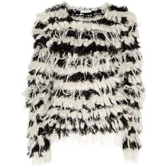 Chloé Textured chunky-knit sweater (770 CAD) ❤ liked on Polyvore featuring tops, sweaters, jumpers, jackets, textured top, chunky knit sweater, chloe top, black white sweater and black and white tops