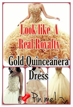 Quinceanera Guide - Gold Quinceanera Dresses In Autumn Shades. Go for one of these Gold quinceanera dresses for the big day of yours! Quinceanera Party, Quinceanera Dresses, Cute Dresses, Prom Dresses, Formal Dresses, Dream Party, Quince Dresses, Different Dresses, Queen