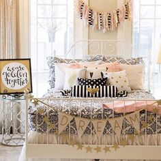 """Starting tomorrow you can order this """"Dream"""" Banner and our Custom Glitter Name Banners in Silver!✨ How cute is this room with our favorite bedding from @beddysbeds?! You can also find this Scrap Banner and other items that coordinate well in our shop! #pearlandjane"""