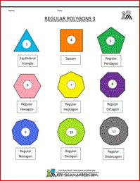 Regular Polygons Sheet 3