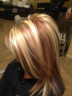 Beautiful golden blonde hair with reddish caramel or toffee coloured lowlights. L♥Ve it
