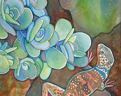 Southwest Desert Collared Lizard/ Original Watercolor Painting Reptile Art by Susan Faye
