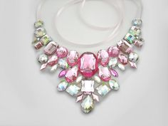 Pink and Clear AB Rhinestone Statement Necklace from Sparkle Beast Designs on Storenvy
