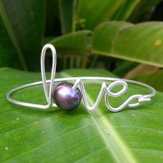 Love Black Pearl Bracelet Wire Bangle Wire by shandahawaiiandesign, $25.00