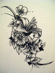 daisy, rose,daffoldi and aster tatoo | lilies tatt for Sleep-Fighter by ~oO-violetta-Oo on deviantART