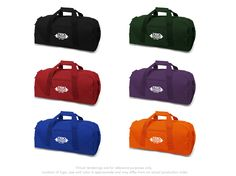 """#TRIO Brand Gear™ Dallas™ Duffel Bag 600 denier polyester, 23"""" long square end Zippered side pocket, clip on shoulder strap In stock in 26 different colors"""