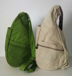 34894c01e93e AmeriBag Healthy Backpack Sling LOT of 2 Shoulder Bags GREEN Nylon BEIGE  Canvas Back Bag
