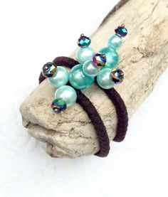 Mermaid hair jewelry aqua blue beaded hair ties by crushedcameo