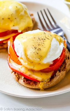 My favorite recipe for Eggs Benedict - including how to poach an egg and make the EASIEST creamy hollandaise sauce.