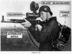 "An illustration of a Wehrmacht trooper wielding an STG-44 that is equipped with a Zielgerät 1229 ""Vampir"" infrared scope attachment. Yet another revolutionary inception of advanced military technology by German engineers, the Vampir was first introduced into combat in February, 1945. 310 units were delivered to the Wehrmacht at the final stages of the war. Those equipped with the device were called ""Nachtjäger"" (""Night Hunters"") and would attack unsuspecting enemy squads in the dark of…"