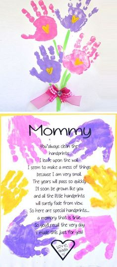 Printable Handprint Mother's Day Poem | Easy Mothers Day Crafts for Toddlers to Make | DIY Birthday Gifts for Mom from Kids More #teenbirthdaygifts #girlfriendbirthday