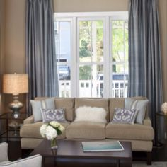 Living room ideas - tan and blue accents