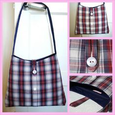 HANDMADE, UPCYCLED, Recycled, LARGE Navy, Red & White checked Shoulder Bag / School Bag / Purse - £22.00