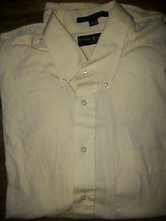 Tommy Hilfiger~Gold Crest Men's 17 34 Yellow Dress Shirt w/ Pocket 100% Cotton
