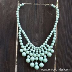 Green Necklace,Holiday Party,Bridesmaid Gifts,Beaded Jewelry,Wedding Necklace,Turquoise Color Necklace$18.00