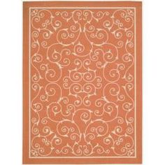 Indoor/ Outdoor Orange Rug (5'3 x 7'5)
