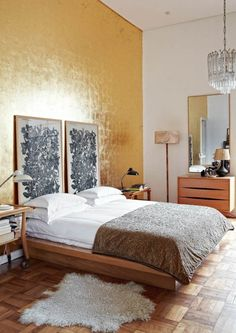 Glam Art Deco Apartment in Muted Colors Accent Wall Bedroom, Bedroom Decor, Accent Walls, Faux Headboard, Yellow Headboard, Bohemian Headboard, Headboard Alternative, Peaceful Bedroom, Headboard Designs