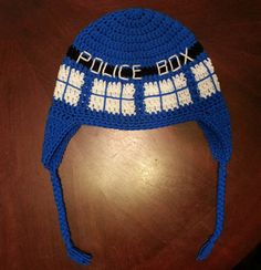 Crochet a TARDIS hat while waiting for the Doctor free pattern: http://www.examiner.com/article/doctor-who-crochet-a-tardis-hat-while-waiting-for-the-doctor