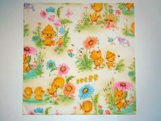Vintage 1970s Baby Shower Gift Wrapping Paper by RecycledWares