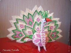 Мастер-класс, Поделка, изделие Оригами модульное: Павлин с ажурным хвостом. Мастер-класс. Бумага. Фото 1