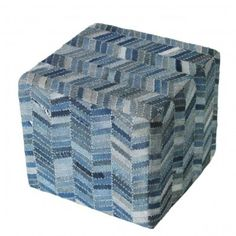 Ashbee Design: Ottoman made of Denim Blue Jeans • Furniture