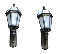 Pair of Black Lantern Sconces with White Caps & Frosted Sides