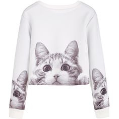 SheIn(sheinside) White Cats Print Crop Sweatshirt ($16) ❤ liked on Polyvore featuring tops, hoodies, sweatshirts, pullover sweatshirt, white pullover sweatshirt, white long sleeve top, cropped sweatshirt and long sleeve crop top