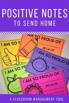 management can be tricky! Send these positive notes home to let parent's know why you were proud of their student today!Classroom management can be tricky! Send these positive notes home to let parent's know why you were proud of their student today! Classroom Behavior Management, Behaviour Management, Behavior Incentives, Classroom Rewards, Class Dojo Rewards, Classroom Reward System, Classroom Community, Future Classroom, 2nd Grade Classroom