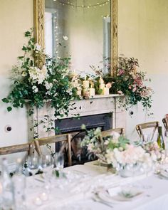 All brides should have oversized mantlepiece arrangements with oodles of candles! Then get to shoot it! mantel flowers, greenery and white flowers, wedding reception decor, lush garden style design, Wedding Mantle, Wedding Fireplace, Floral Wedding, Wedding Flowers, Flower Installation, Flower Company, Beautiful Candles, Beautiful Flowers, Floral Arch
