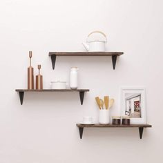 Set of 2 Display Ledge SUPERJARE Wall Mounted Floating Shelves Dark Brown Storage Rack for Room//Kitchen//Office