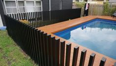 32 Awesome Stylish Pool Fence Design Ideas - Swimming pool fences are expected to secure babies and little youngsters. These systems keep kids from the dangers of suffocating and let them approac. Aluminum Pool Fence, Glass Pool Fencing, Concrete Fence, Gabion Fence, Bamboo Fence, Small Fence, Front Yard Fence, Fenced In Yard, Front Yards